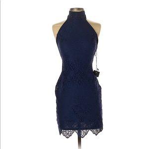 For Love & Lemons High Neck Lace Dress Navy XS
